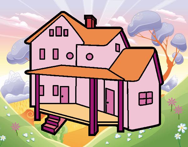 Dibujo de casa con porche pintado por lunalunita en - Porche para colorear ...