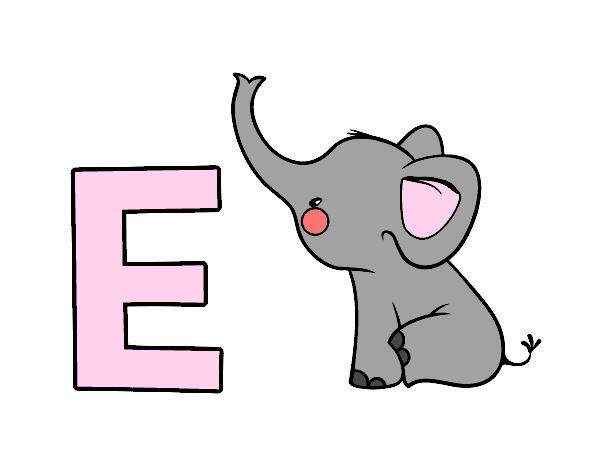 Dibujo de E de Elefante pintado por Aiyan en Dibujos.net ...