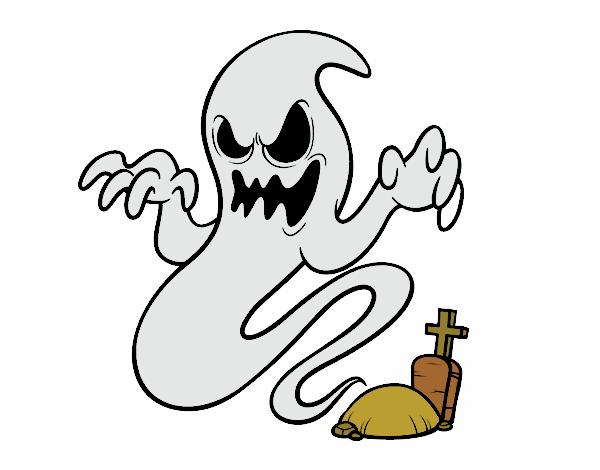Dibujo De Fantasma Tenebroso Para Colorear: Dibujo De El Fantasma De La Tumba Pintado Por En Dibujos