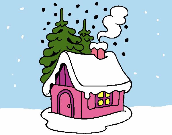 Dibujo de casa en la nieve pintado por lunalunita en - La casa de la navidad ...