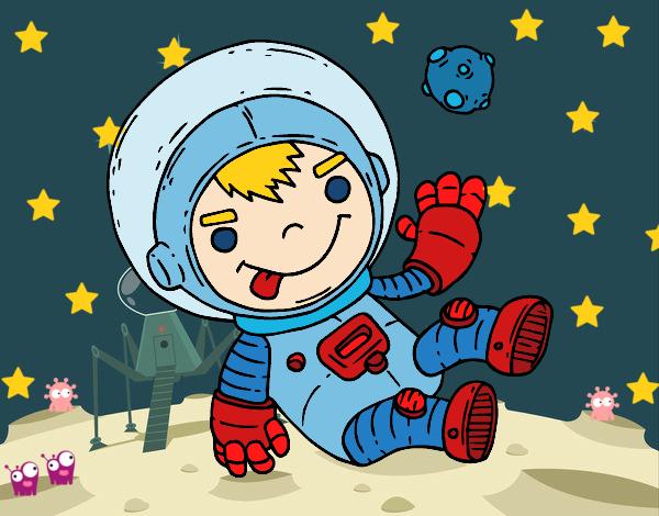 Niño Astronauta En El Espacio: Dibujo De Niño Astronauta Pintado Por Queyla En Dibujos