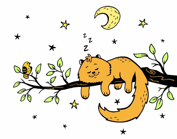 Dibujo de gato durmiendo en la cima de un arbol pintado - Dibujos de gatos pintados ...