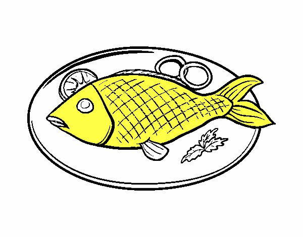 Cooked fish clipart black and white - photo#23