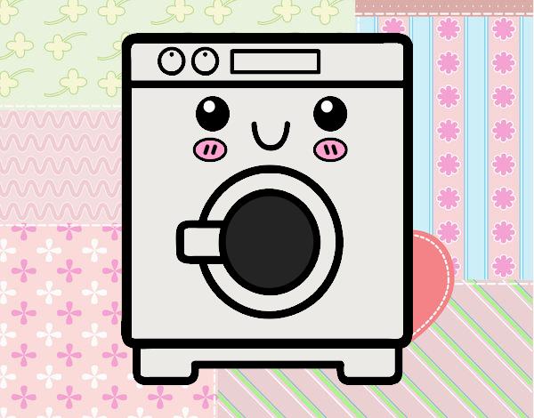 Dibujo de lavadora kawaii pintado por en el for La cocina de dibujos pdf