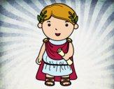 Dibujo Julio César de niño pintado por queyla