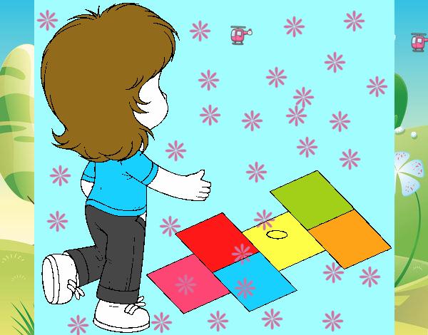 Rayuela Dibujo Para Colorear E Imprimir: Dibujo De Rayuela Pintado Por En Dibujos.net El Día 09-09