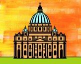 Dibujo Basílica de San Pedro del Vaticano pintado por helio