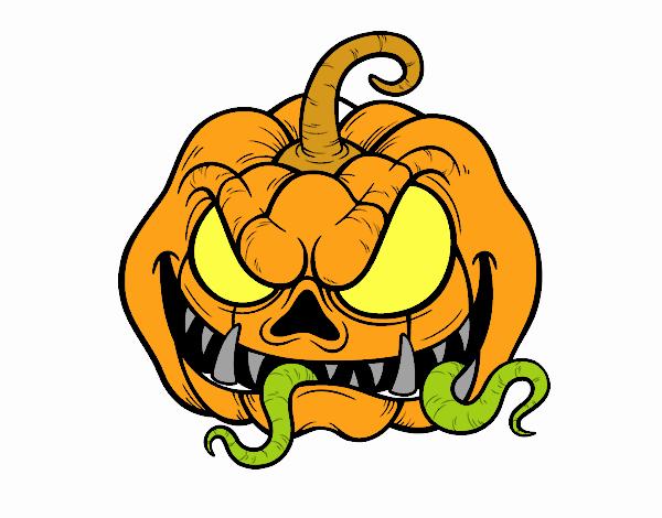 Dibujo de super calabaza de terror pintado por en dibujos - Calabazas de halloween de miedo ...
