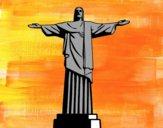 Dibujo El Cristo Redentor pintado por helio