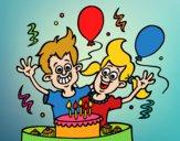 Dibujo Cumpleaños de hermanos pintado por queyla