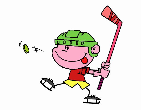 Dibujos Para Colorear Jugador De Hockey: Dibujo De Niño Aprendiendo A Jugar A Hockey Pintado Por En