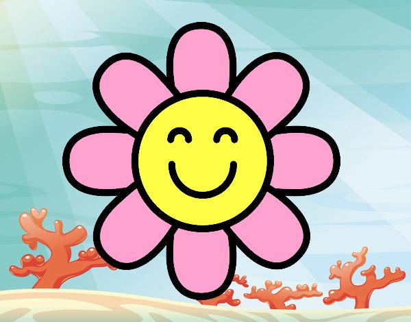 Dibujo de flor con carita feliz 2 pintado por en Dibujosnet el