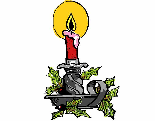 Dibujos De Velas De Navidad Para Colorear: Dibujo De Vela De Navidad 1 Pintado Por En Dibujos.net El