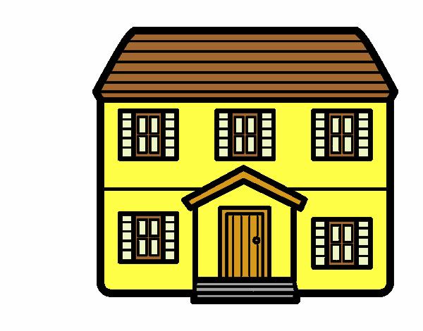 Dibujo de casa con dos pisos pintado por en el for Dibujos en techos de casas