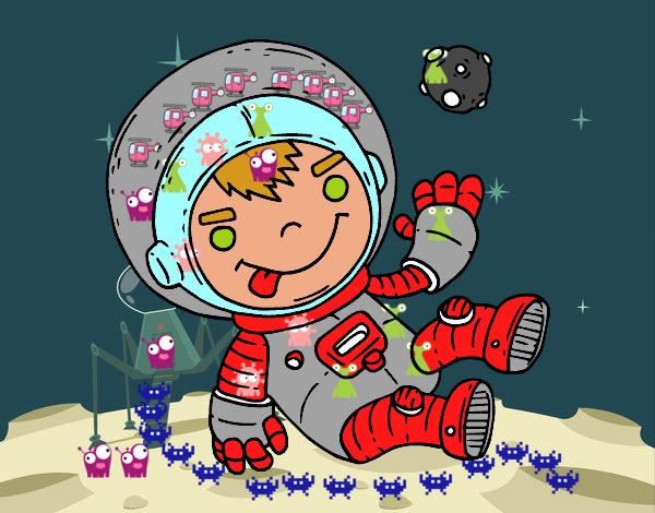 Niño Astronauta En El Espacio: Dibujo De Niño Astronauta Pintado Por Edw1z En Dibujos