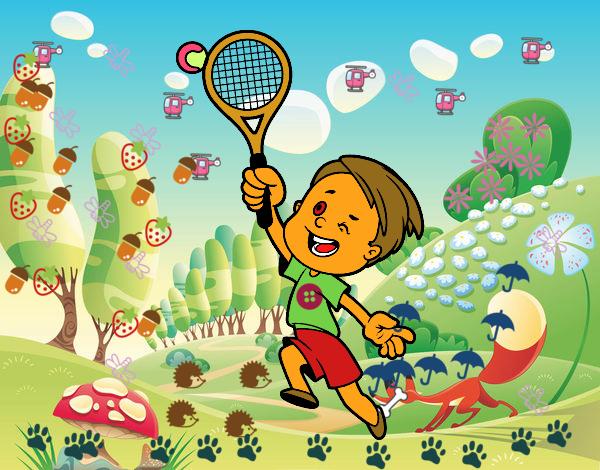 Dibujo de ni o jugando a tenis pintado por en for Que es jardin de infancia
