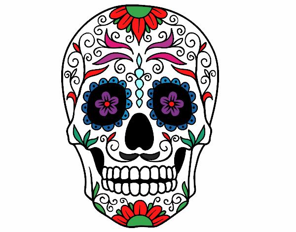 Dibujo de calavera mejicana pintado por en el for Teschi da disegnare