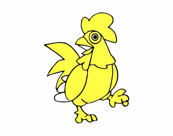 Gallos Coloridos Dibujos Animados: Dibujo De Gallo De Corral Pintado Por En Dibujos.net El