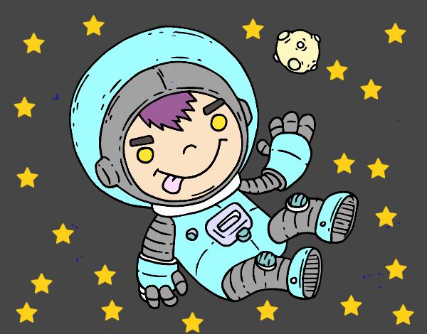 Niño Astronauta En El Espacio: Dibujo De Niño Astronauta Pintado Por En Dibujos.net El