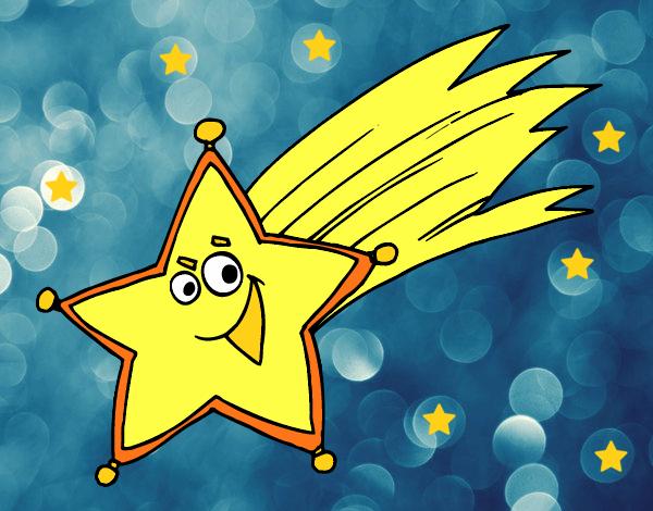 Dibujo de estrella fugaz pintado por lunalunita en dibujos for Estrella fugaz navidad