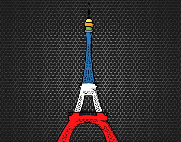 Torre Eiffel Dibujo Animado A Color: Dibujo De Francia En Su Noche Más Pura Pintado Por En