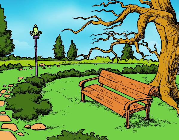Dibujo Parque Infantil Para Colorear: Dibujo De Paisaje De Parque Pintado Por Lunalunita En