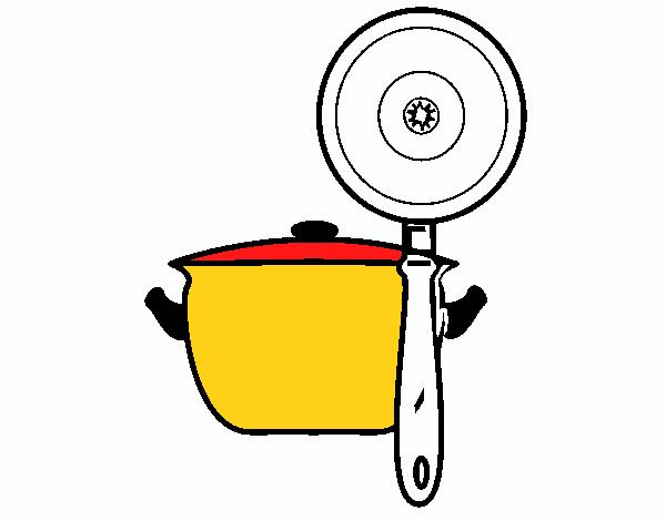 Dibujo de utensilios de cocina pintado por en for Utensilios de cocina logo