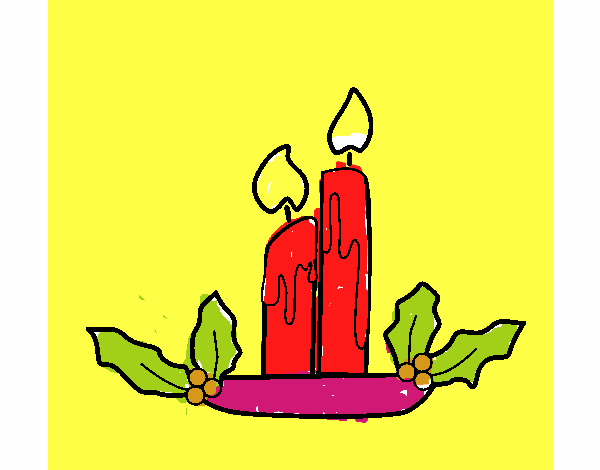 Dibujos De Velas De Navidad Para Colorear: Dibujo De Velas De Navidad Pintado Por En Dibujos.net El