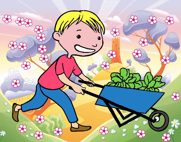Dibujo de ni o con carro pintado por en el d a for Casa jardin ninos