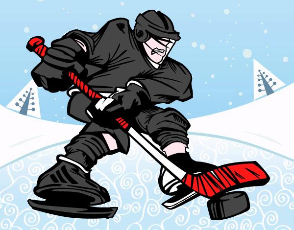 Dibujos Para Colorear Jugador De Hockey: Dibujo De Jugador De Hockey Profesional Pintado Por