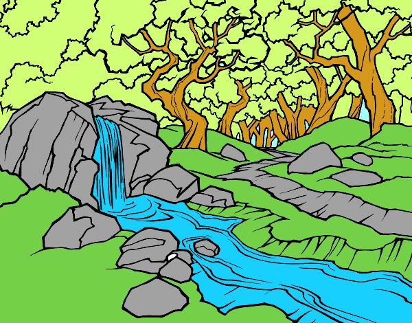 Dibujo de Paisaje de bosque con un ro pintado por en Dibujosnet