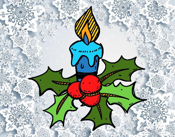 Dibujos De Velas De Navidad Para Colorear: Dibujo De Una Vela De Navidad Pintado Por En Dibujos.net