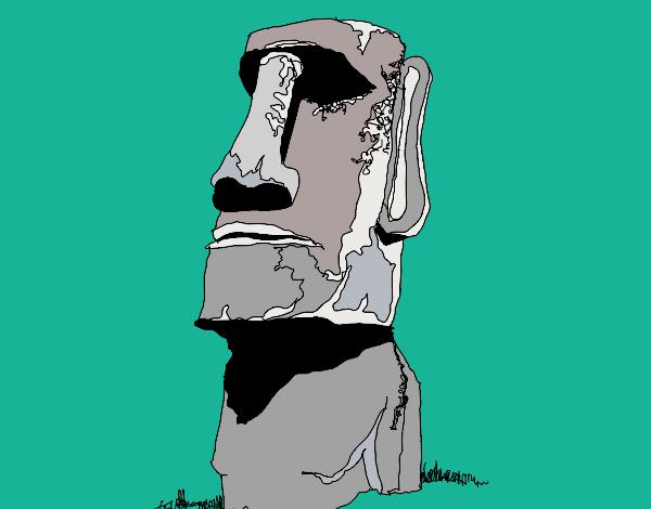 Dibujo de Moi de la Isla de Pascua pintado por en Dibujosnet el