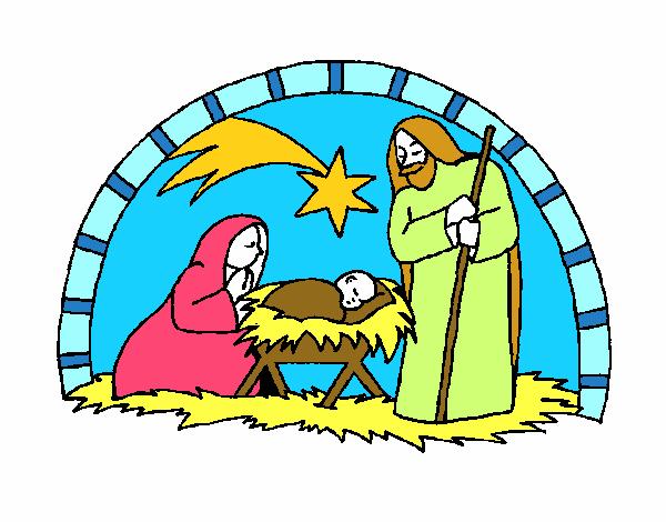 Dibujo de pesebre de navidad pintado por en el for Dibujos de navidad pintados