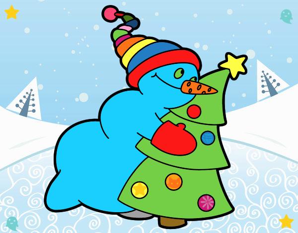 Dibujo de mu eco de nieve abrazando rbol pintado por en - Nieve para arbol de navidad ...