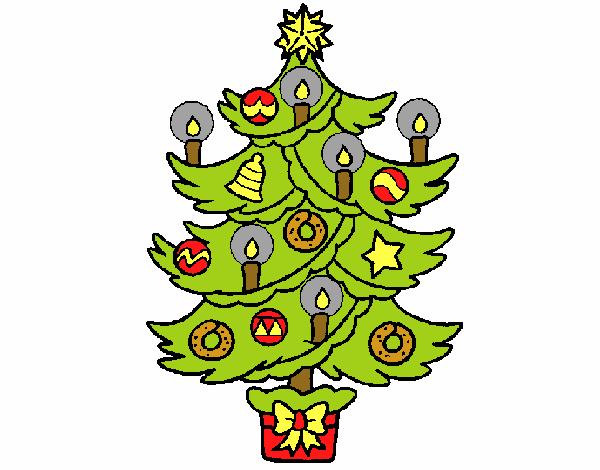 Dibujos De Velas De Navidad Para Colorear: Dibujo De Árbol De Navidad Con Velas Pintado Por En