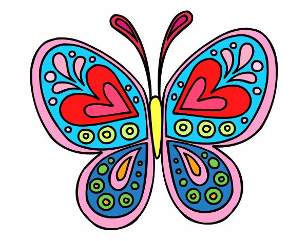 dibujo de mariposa colorida pintado por en el