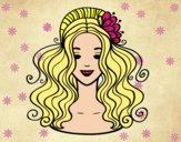 Dibujo Peinado recogido con flores pintado por  janm