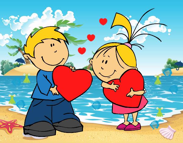 Dibujos Para Colorear Del Dia De Los Enamorados: Dibujo De NIÑOS ENAMORADOS Pintado Por En Dibujos.net El