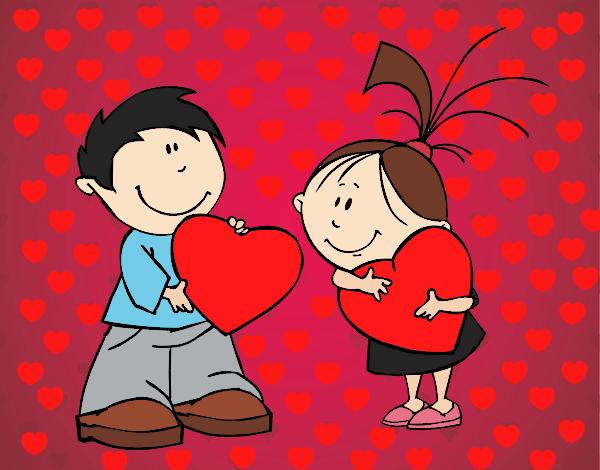 Dibujos De San Valentín: Dibujo De Niños En San Valentín Pintado Por Liz005 En