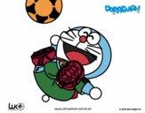 Dibujo Doraemon futbolista pintado por Osobal