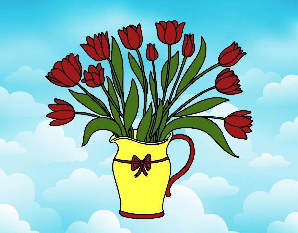 Dibujo de una jarra de flores rojas pintado por Linda423 en