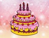 Dibujo Tarta de cumpleaños pintado por 3lsa