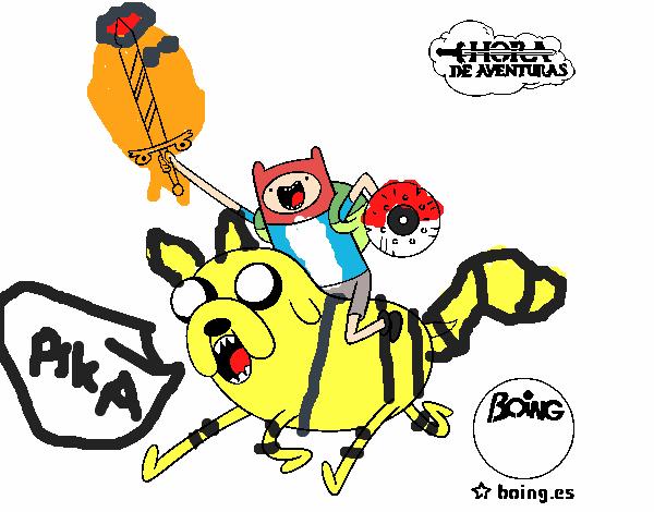 dibujo de jake y finn al ataque para colorear holidays oo