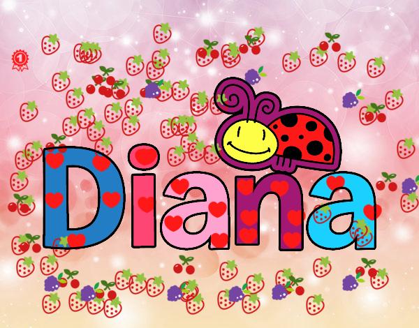 Dibujo de nombre diana pintado por en el d a - Diana de colores ...