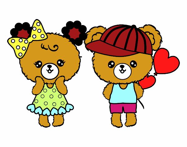 Dibujo de Ositos Kawaii enamorados pintado por en Dibujosnet el