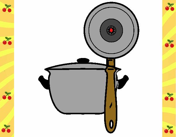 Dibujo de utensilios de cocina pintado por en for Utensilios para cocineros