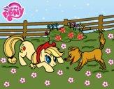 Dibujo Applejack y Winona pintado por queyla