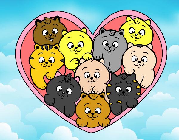 Fiesta de gatitos gorditos negros