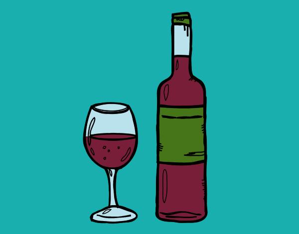 Dibujo De Botella De Vino Y Copa Para Colorear Dibujo De